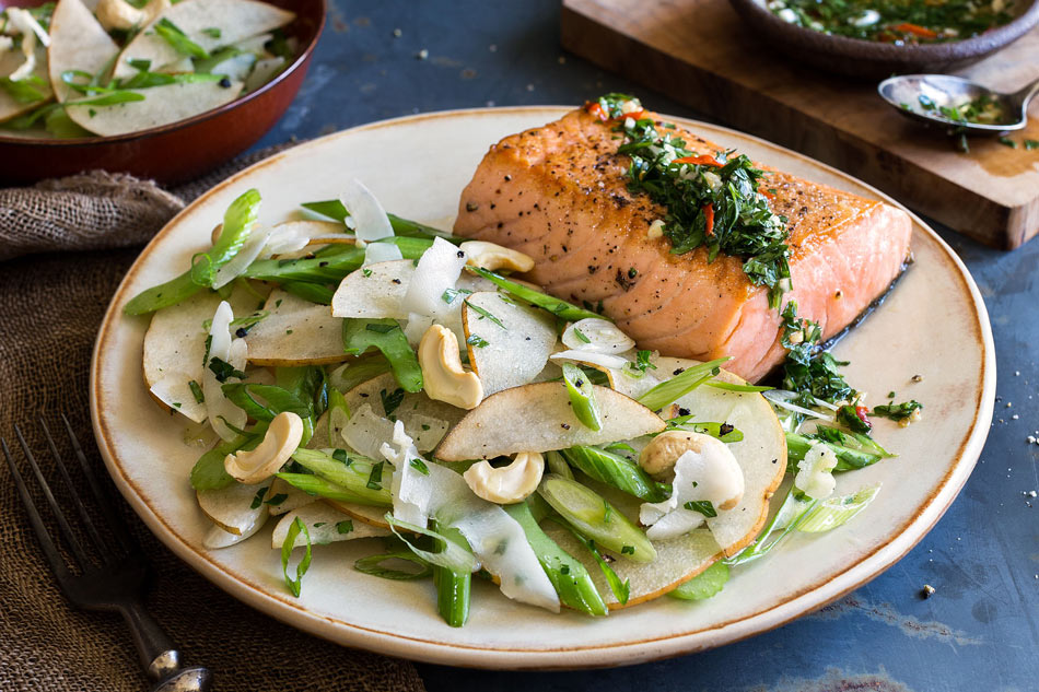 Salmon with cilantro-lime sauce and pear-cashew salad